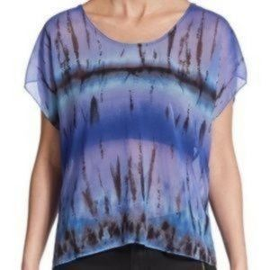 Rory Beca Tie Dye Sheer Scoop Neck Blouse Size S